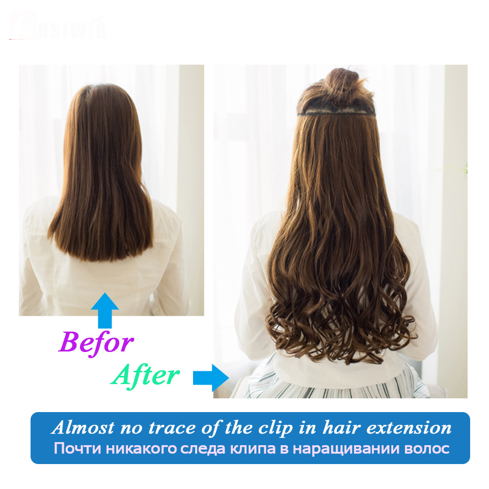 Allaosify 60cm Long Synthetic Hair Clip In Hair Extension Heat Resistant Hairpiece Natural Wavy Hair Piece Halo Hair Extensions