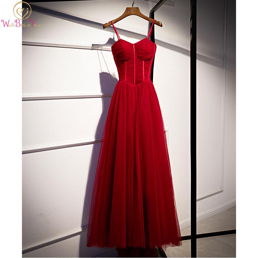 Prom Dresses Long 2020 for Black Girl Burgundy Tulle Pleat Elegant Spaghetti Strap A Line V Neck Sweep Train Evening Formal Gown