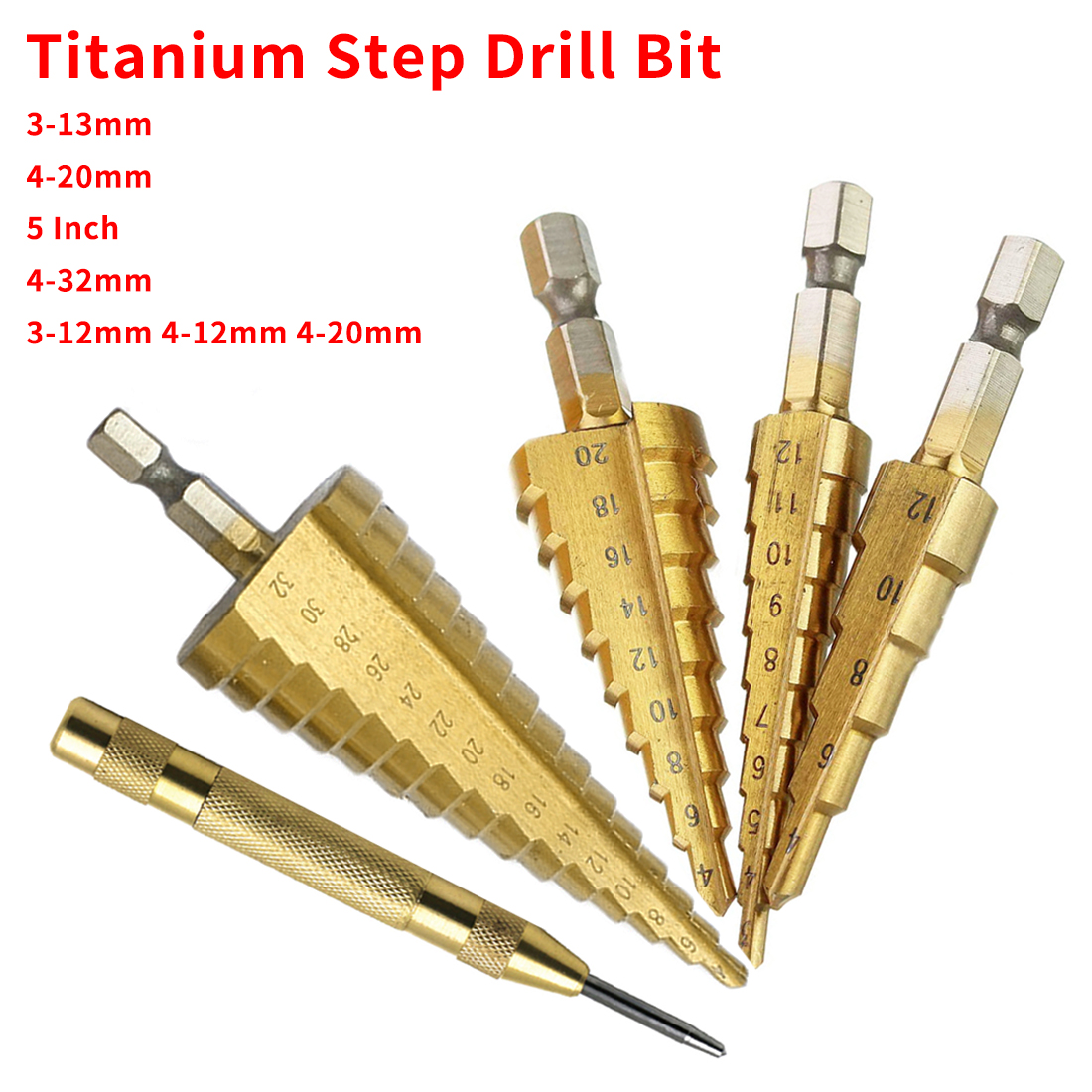 3-12mm 4-12mm 4-20mm Step Drill Bit HSS Titanium Steel Woodworking Metal Drilling Set Hex Shank Step Cone Cutting Tools