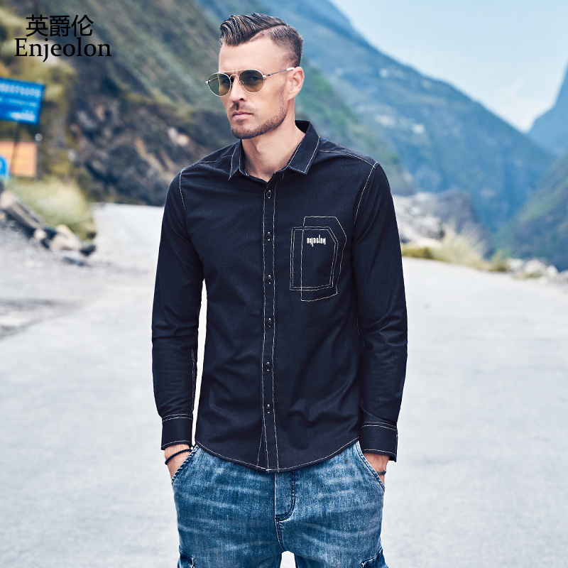 Enjeolon Men's Autumn Casual Long Sleeved Turn-down Shirt 2019 New Embroidered Shirt Black Shirt Men Clothes Plus Size CX2271-1