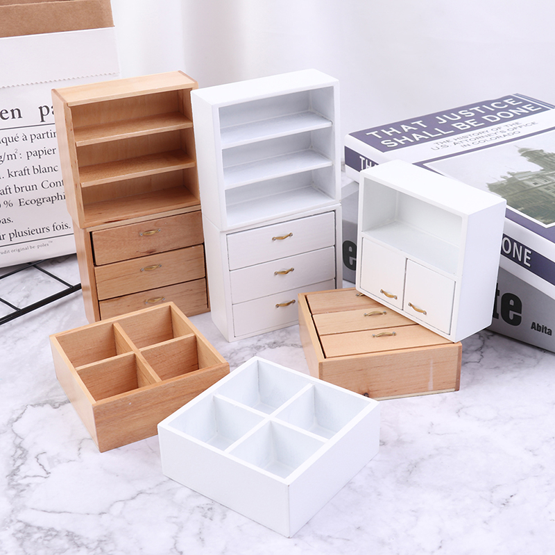 1/12 Dollhouse Miniature Furniture Living Room Cabinet With 4 Section White And Wood Colors Available