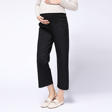 Autumn&Winter Pregnancy High Waist Elastic Force Pants Adjustable Maternity Trousers Loose Leisure Nine