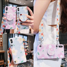 Anti-knock strap tpu case for iphone 7 8 6 6s plus XR X XS MAX cover flower floral shoulder lanyard soft silicon phone bag