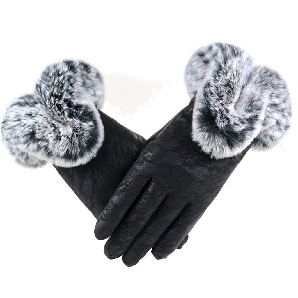 Winter Velvet Lace Gloves перчатки Warm Using Phone For Cycling Running Gloves Guantes перчатки без пальцев Women's Gloves #YL5