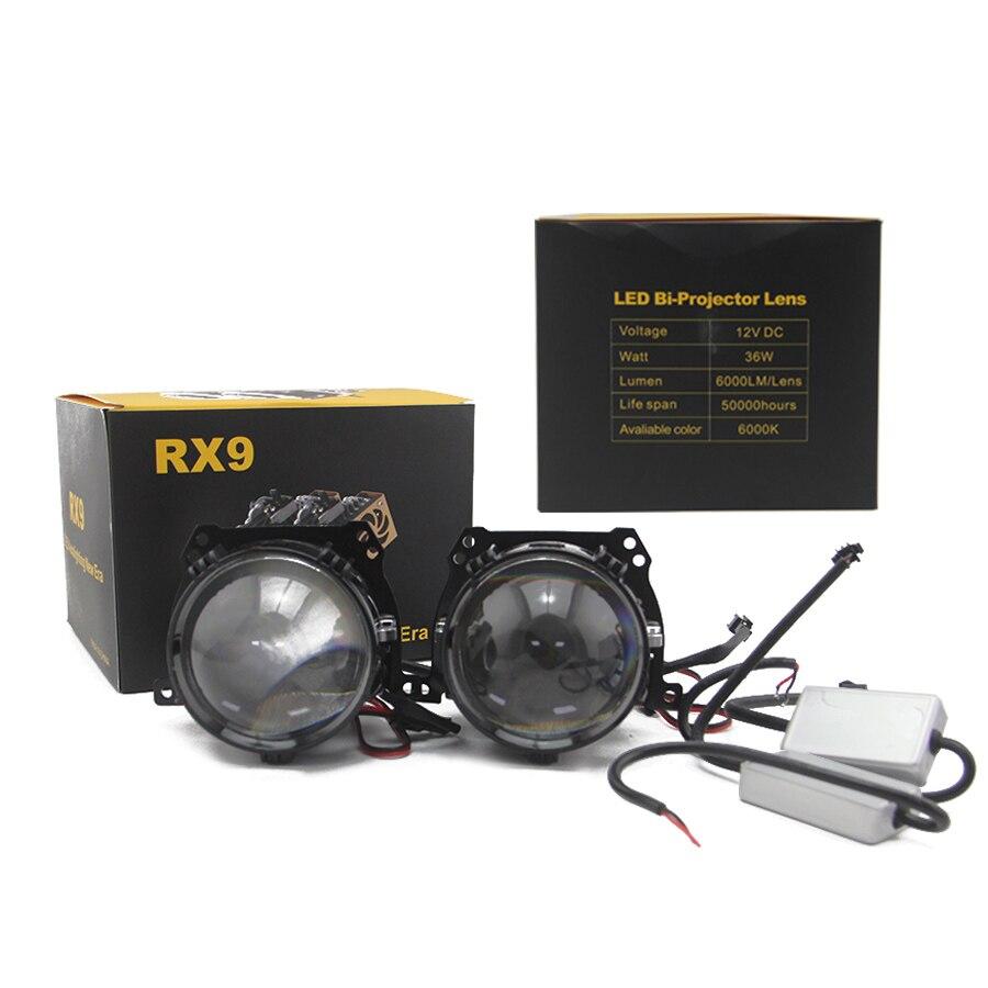 SHUOKE Mini Bi-LED Projector Lens Headlight 12V 36W 6000LM Per 6000K 50000h Life Bi LED Projector Lenses 1 Set Free Shipping