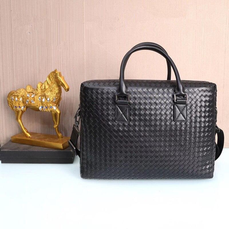 Kaisiludi Leather Bag Handbag Business Braid Men's Briefcase Computer Bag Casual Single Shoulder Oblique Satchel