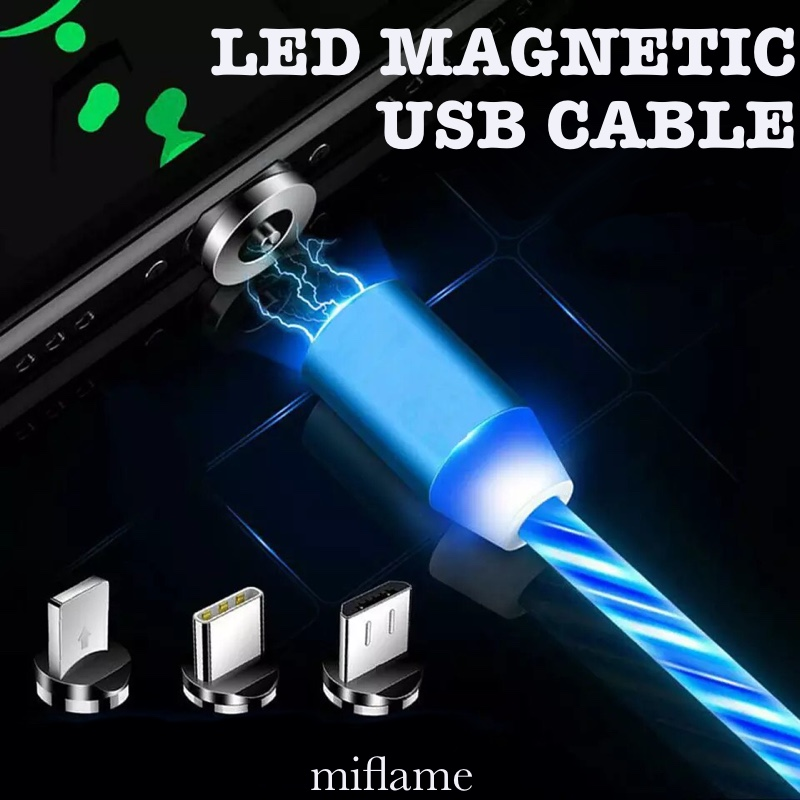 LED Magnetic Fast Charging USB Cable 1m Micro USB Cable For iPhone Huawei <font><b>Samsung</b></font> etc. Type C Magnet Charger For Xiaomi Redmi image