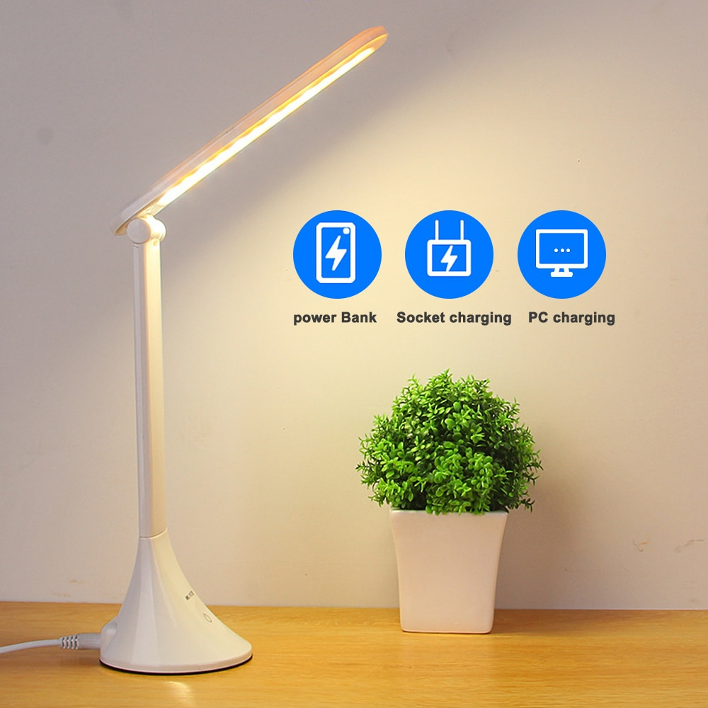 Junejour 감동 3 수준 디 밍이 가능한 USB 접는 램프 어린이 독서 눈 보호 LED 테이블 책상 빛 잠자는 테이블 램프