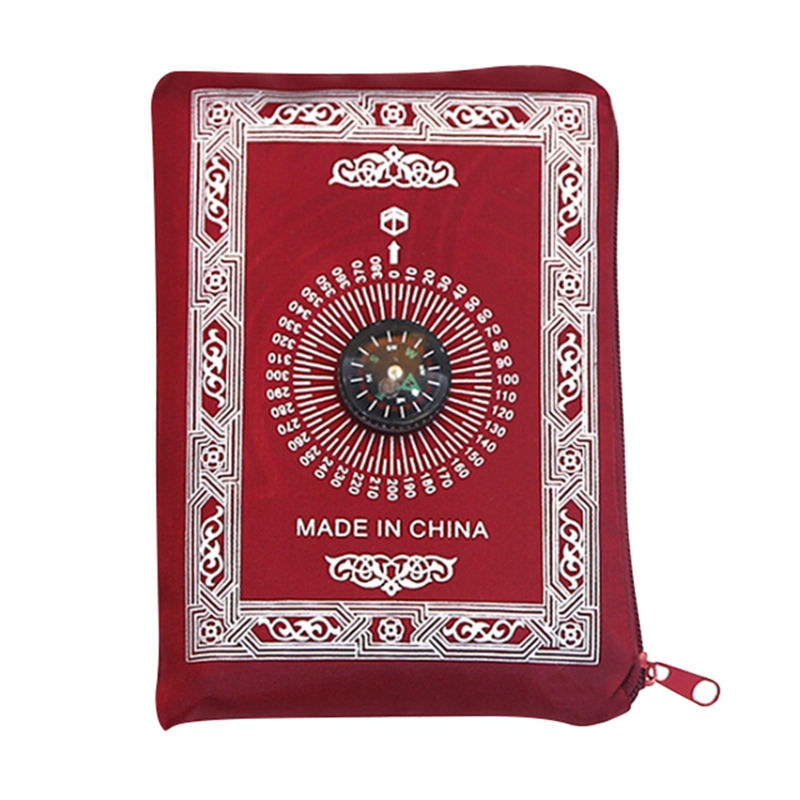Image 5 - Muslim Prayer Rug Polyester Portable Braided Mats Simply Print  with Compass In Pouch Travel Home New Style Mat BlanketRug   -