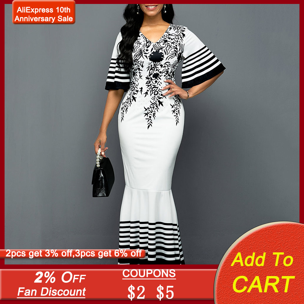 White African Women Dress Mermaid 2020 Summer Floral Printed Half Sleeve Long Dresses Robe Elegant Female Maxi Party Vestiods