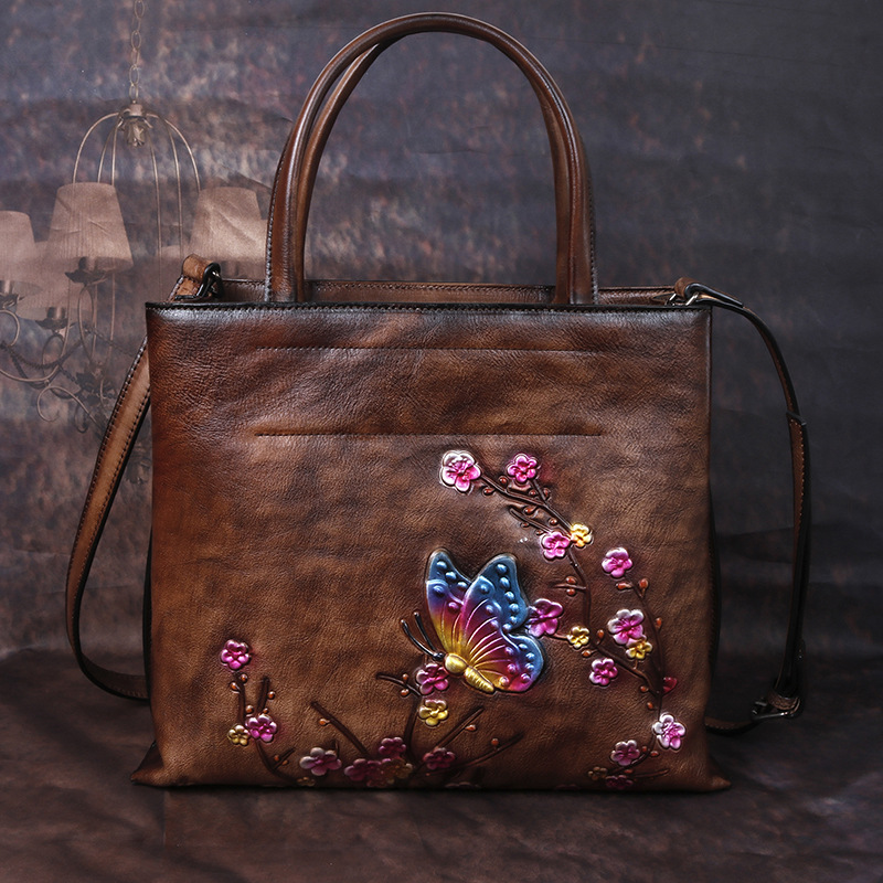 Image 3 - Johnature Retro Large Capacity Luxury Handbags Women Bags 2020  New Genuine Leather Floral Casual Tote Shoulder