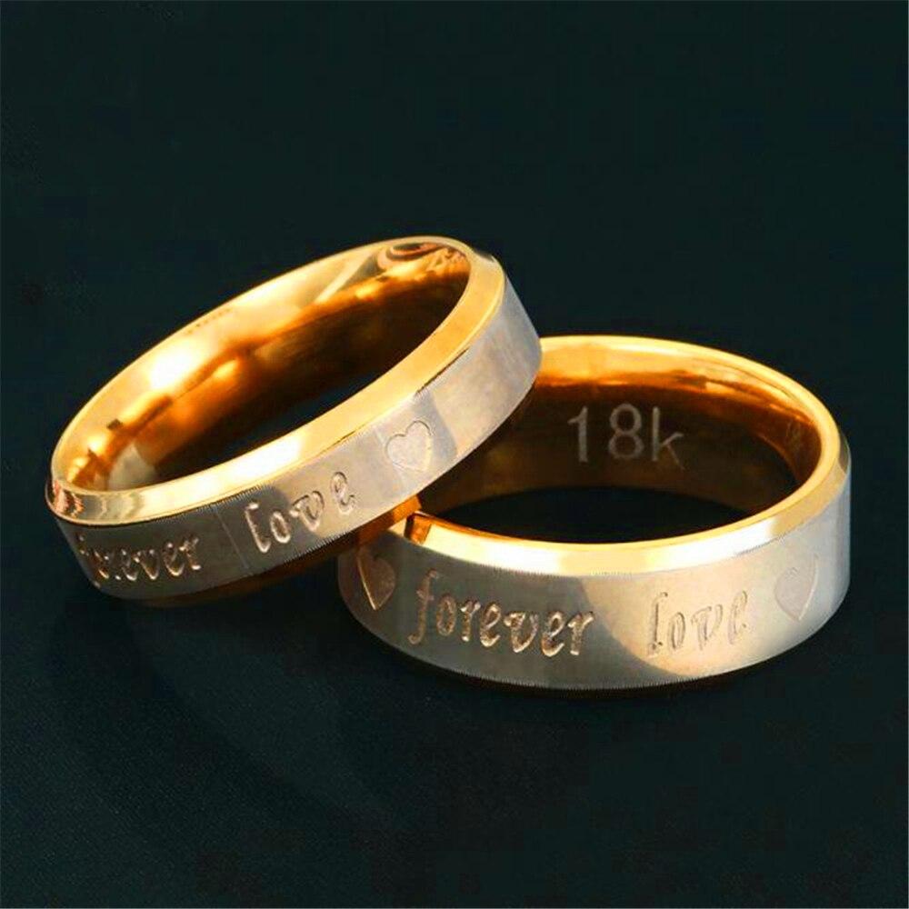 Стильные пары с гравировкой «Forever Love», кольца из нержавеющей стали с сердечком для влюбленных, для мужчин и женщин и мужчин, долговечные в те...