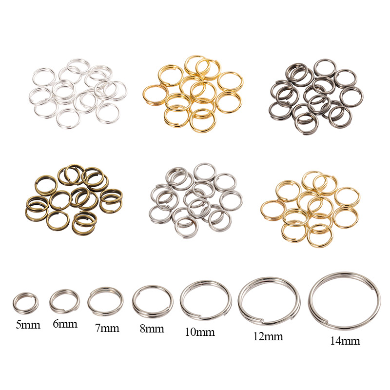 200pcs 5/6/7/8/10/12/14mm Double Loop Key Ring Split Ring Clasp For DiY Jewelry Making Keychain Bracelet Connector Findings