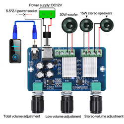 DC12V 2*15W+30W XH-A355 Digital Amplifier Board 2.1 Channel Output with Tuning HD Sound Quality Amplifier Board