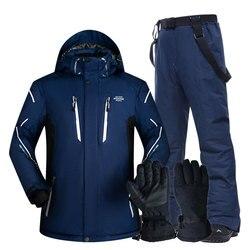 Skipak Mannen Sets Super Warm Thicken Waterdicht Winddicht Winter Sneeuw Pakken Mannelijke Sets Winter Skiën En Snowboarden Jas Mannen
