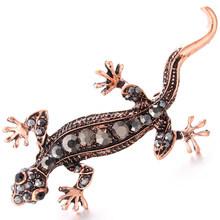 Metal Alloy Lizard Animal Brooch Rhinestone Brooches For Female Pins Lapel Pin Women Men Wedding Scarf Clip Black(China)