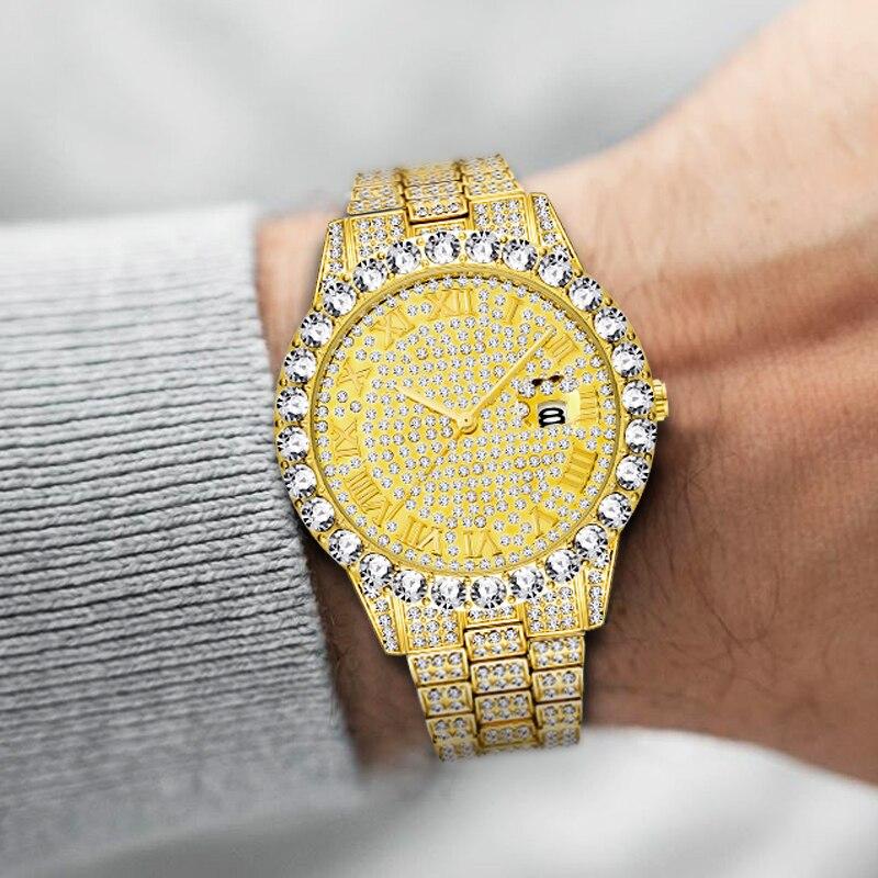 Relogio Masculino MISSFOX Big Diamond Luxury Brand Rolexable 18K Gold Watch Men Day-Date Magnifier Men's WristWatch Male Clock