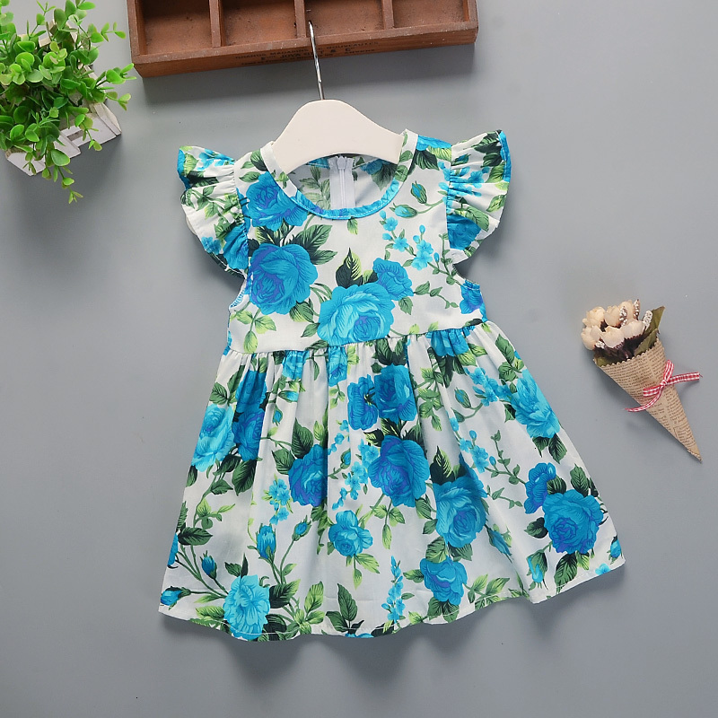 Hbe8ba70c3b834d6596856c1b49109278D Hot 2018 New Summer Dress Toddler Kids Baby Girls Lovely Birthday Clothes Blue Striped Off-shoulder Ruffles Party Gown Dresses