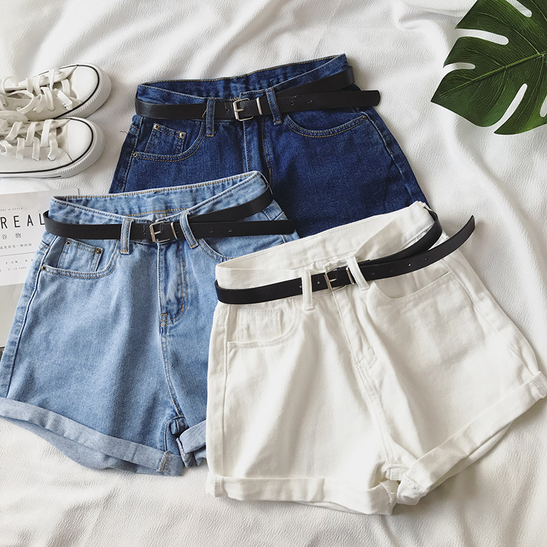Hbe8bc947f5234afaa9a44c29f20561a6P - Women Summer Shorts Fashion Free Belt High Waist Loose Casual Slim Denim Shorts Women Shorts Jeans mujer femme Korea Shorts