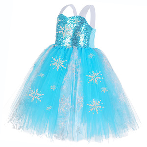 Image 3 - Meninas sequin floco de neve congelado 2 vestido crianças princesa congelado traje azul vestido de verão para crianças flor meninas vestido de festa roupas