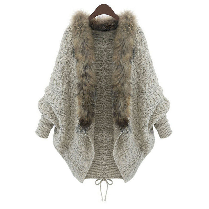 US $9.58 35% OFF New Europe America Sweater Large Plus Size Women Knit Cardigan Bat Batwing Sleeve Faux Fur Collar Knitted Sweater Coat Cardigans Faux