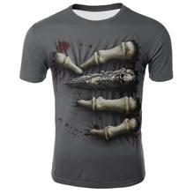 Camiseta de manga corta con estampado de esqueleto del dedo para hombre, camiseta 3D, camiseta informal transpirable y camiseta de talla grande, verano de 2021