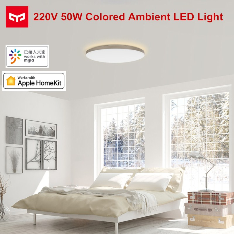 NEW Release YEELIGHT 50W Smart LED Ceiling Lights Colorful Ambient Light Homekit Mijia APP Control AC 220V For Living Room|  - title=