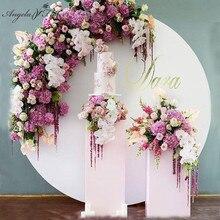 Beyaz ferforje demir halka kemer büyük parti doğum günü düğün arka plan dekor yapay çiçek standı açık çim düğün raf