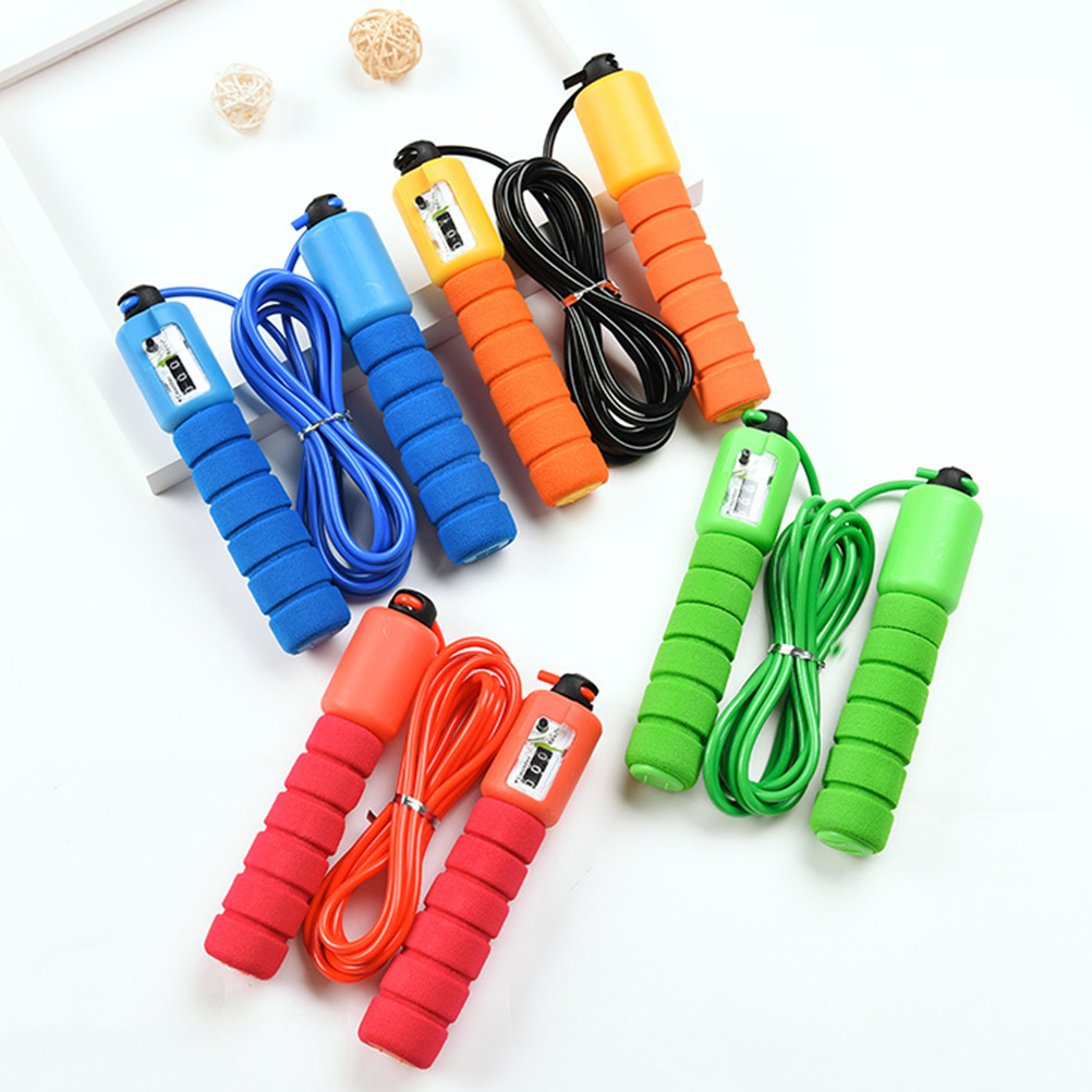 4 Pcs Electronic Counting Jump Rope Skipping Rope Fitness Workout Weight Bearing Sports Fitness Accessories Gym Equipment
