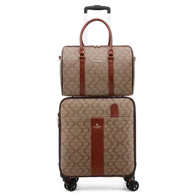 PU Leather Women Suitcase With Handbag