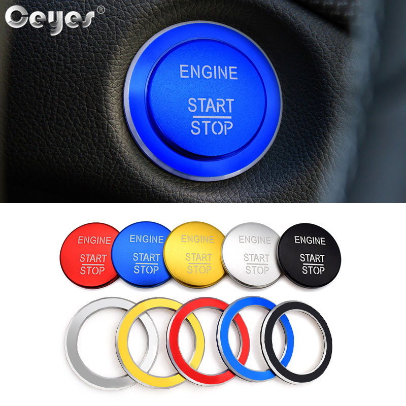 Ceyes 1pc Car Engine Ignition Start Stop Push Button Cover Ring Accessories Fit For <font><b>Mercedes</b></font> Benz AMG A B C GLC GLA Auto Styling image