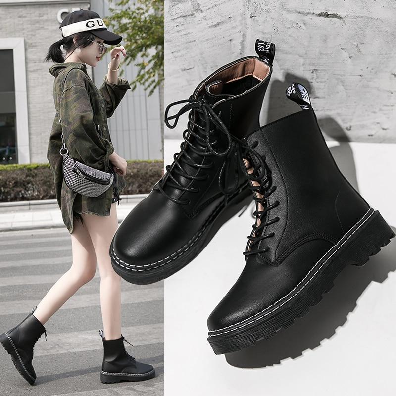 Botas femininas botas de couro preto martens botas femininas primavera outono botas dr motocicleta sapatos de salto grosso plataforma sapatos de inverno