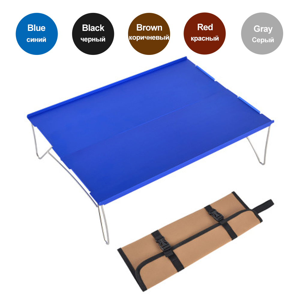 HooRu Ultralight Portable Table Hiking Camping Folding Aluminum Table Outdoor Backpacking  Mini Desk With Carry Bag For Travel