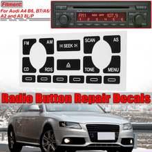 1x tp/as rádio do carro de áudio estéreo desgastado peeling botão reparação decalques adesivos para audi a4 b6 b7/a6/a2 a3 8l/p corrigir botão feio