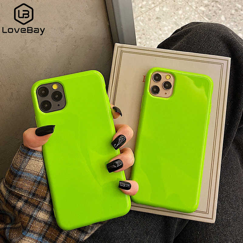 Funda de teléfono de Color fluorescente Lovebay para iPhone 11 Pro Max 6 6s 7 8 Plus X XR XS Max suave TPU liso de Color sólido