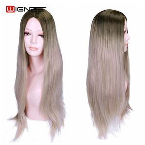 Image 4 - Wignee ארוך ישר שיער התיכון חלק סינטטי פאה עבור נשים Ombre תינוק אפר בלונדינית/ורוד/אדום/חום/כחול טבעי שיער נשי פאה