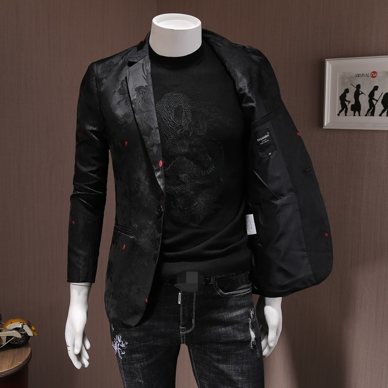 Brand Men Blazer Embroidery Slim Single Button Suit Jacket 2020 Autumn Party Wedding Business Black Blazer Short Coats Plus Size