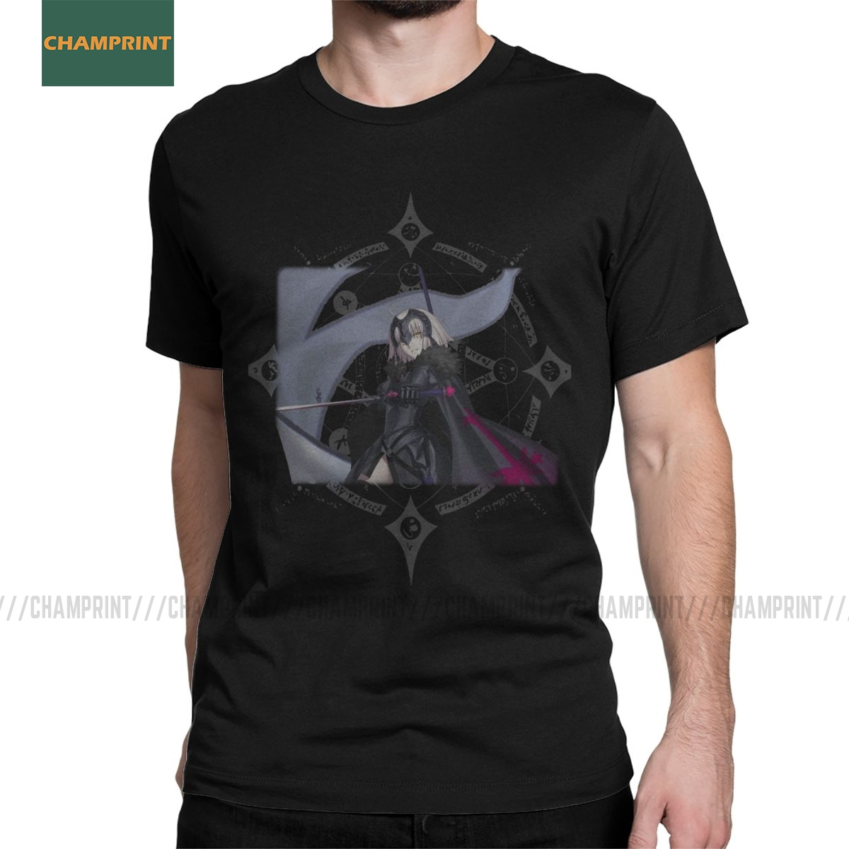 Jeanne Alter Fate Grand Order T Shirt Men's Cotton Vintage T-Shirts Anime Saber Quick Star Attack Tee Short Sleeve Big Size