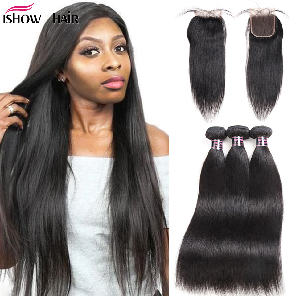 Ishow Hair Brazilian Straight Hair Bundles With Closure Transparent Lace Closure With Bundles Non-Remy Human Hair