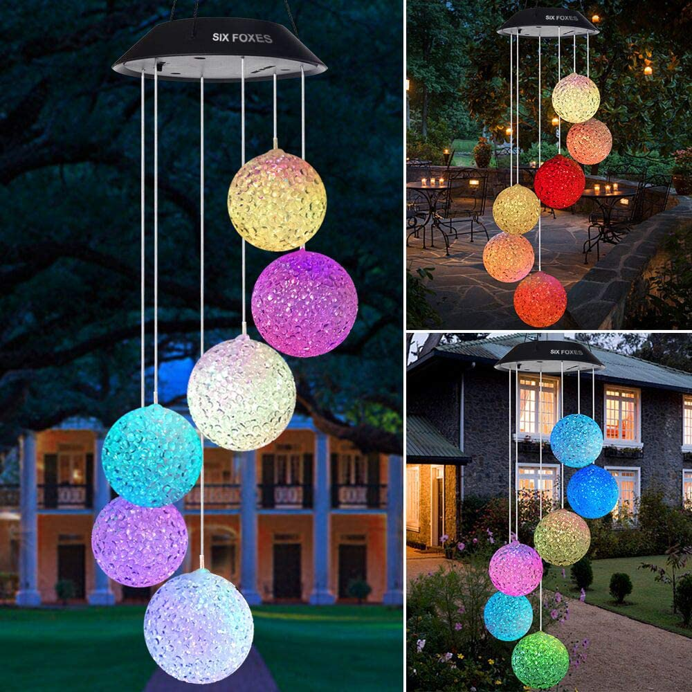 Solar Crystal Ball Wind Chime Color Changing Mobile LED Solar Wind Chime Outdoor Mobile Hanging Patio Light Porch Deck Garden
