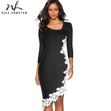 Nice forever Elegant White Lace Patchwork Office unsymmetrical vestidos Business Party Winter Bodycon Women Dress B561