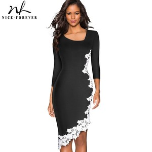 Image 1 - Nice forever Elegant White Lace Patchwork Office unsymmetrical vestidos Business Party Winter Bodycon Women Dress B561