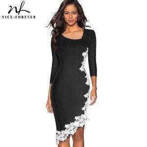 Image 1 - נחמד לנצח אלגנטי לבן תחרה טלאי משרד סימטרי vestidos המפלגה עסקי חורף Bodycon נשים שמלת B561