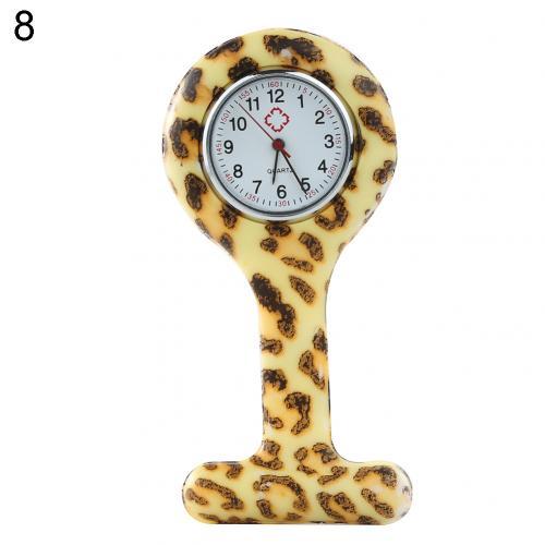 Портативный Зебра арабские печатные цифры Круглый циферблат силикон Медсестра часы Брошь Туника кармашек для часов Часы - Цвет: 8