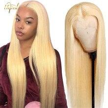 Hd transparente 613 loira peruca dianteira do laço em linha reta perucas de cabelo humano perucas de renda transparente brasileiro remy 30 polegada peruca dianteira do laço