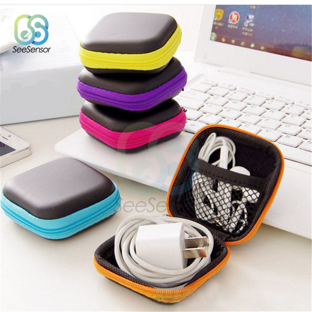 Mini Zipper Hard Headphone Case Portable Earbuds Pouch Box Earphone Storage Bag Holder USB Cable Organizer Random Color