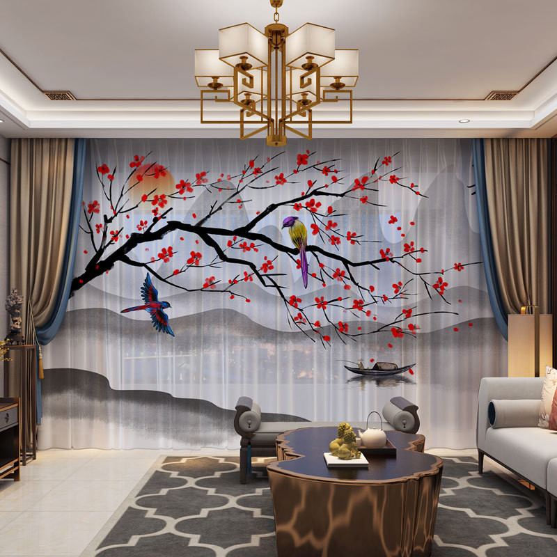Floral Birds Sky 3D Customized Photo Curtains Natural Drape Panel Sheer Tulle Curtains For Living Room Door Kitchen Bedroom|Curtains| |  - title=