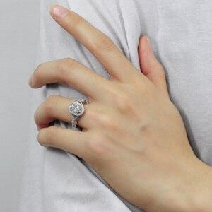 Image 4 - Transgems 14 k 585 branco ouro centro 2ct 7*9mm forma oval f incolor anel de noivado para a faixa feminina com milgrain