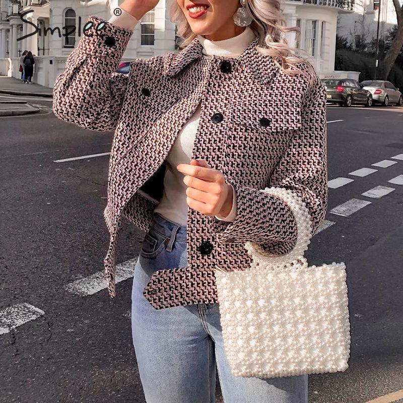 Simplee Vintage Houndstooth Women Short Jacket Button Pockets Retro Female Tweed Coat Chic Streetwear Ladies Plaid Jackets Coats