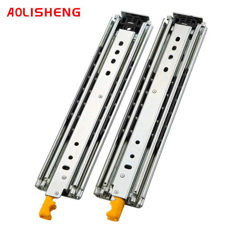 AOLISHENG Heavy duty slide rail with lock 76mm width 3 folds ball bearing telescopic Full Extension industrial drawer slide rail